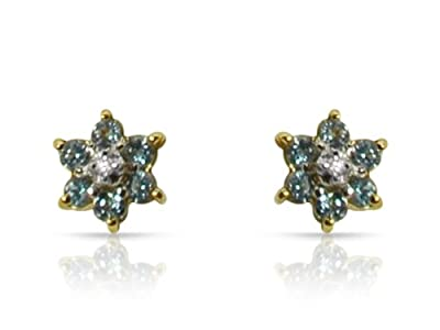9ct Yellow Gold Light Blue Topaz and Diamond Flower Shaped Stud Earrings