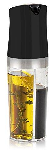 2 in 1 Oil Vinegar Cruet Set for Kitchen - Infused Dispenser Cooking Utensils - Non Drip Bottle Spout - Black (Oil Container Set compare prices)