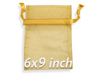 60 Pcs Sheer Organza Drawstring Pouches Gift Bags Gold Color 6x9 Inches