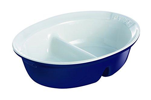 Pyrex - Pirofila con divisorio interno, 28 x 22 cm, modello:  Impressions, colore: Blu