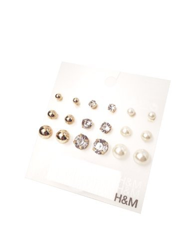 H & M Elegant Stud Earrings Set Gold