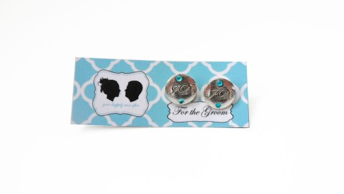 Grooms I DO Cufflinks with Colored Crystal-Silver Charm- Blue Stone