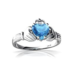 14K White Gold Genuine Heart White Topaz and Diamond Celtic Claddagh Ring