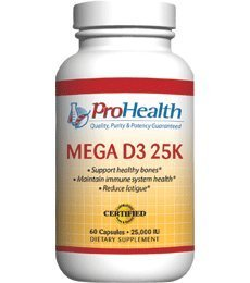 Pro Health, Mega Vitamin D3 25K 60 capsules