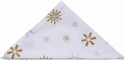 4 White Napkins with Gold Snowflake design 100% Cotton