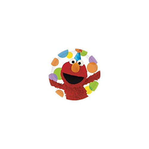 Amscan Mens Sesame Street Elmo Party Dinner Plates Black Medium - 1