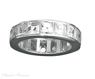 Sterling Silver Princess Cut Channel Set Cubic Zirconia Eternity Band Ring Size 6