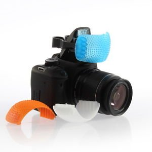 3 Color Pop Up Hot-Shoe Flash Diffuser Set for DSLR Cameras (CANON, NIKON)