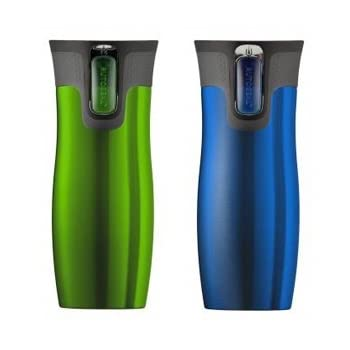 The Contigo Autoseal Travel Mug, Stainless Steel, Vacuum Insulated Tumbler now in 2 Pack (Blue/ Green). Contigo's Patented AUTOSEAL® technology creates a mug that is both leak and spill proof. Now those are pretty bold claims, but they are what AUTOS...