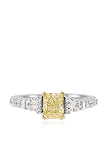 Bouquet 1-1/2 Carat Fancy Yellow Radiant Diamond/18K White Gold Ring