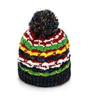 Striped Pom-Pom Beanie Hat