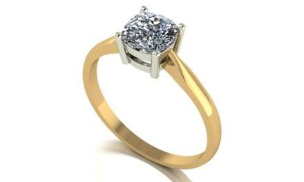 Moissanite 18ct Yellow Gold 2.00 Carat Cushion Cut Ring - Zoe Kay Jewellery