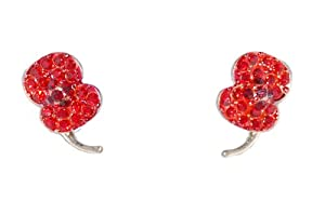Crystal Poppy Design Stud Earring with 925 Sterling Silver Posts Dainty and Pretty (in an Organza Gift Pouch) Fashion Jewellery