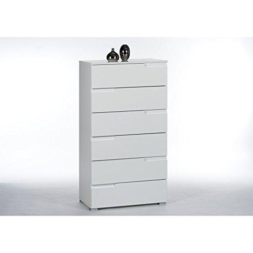 Schubladenkommode-Kommode-Highboard-MONA-mit-6-Schubladen-Hochglanz-wei