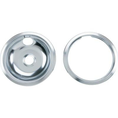8 in. Chrome Pan with Trim Ring Combo Set by GE Parts (Ge Range Rings compare prices)