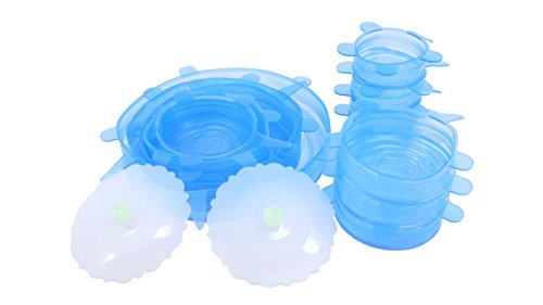 Silicone Lids Set of 12 with 2 cup lids - Easy to Clean, Store & Fit on bowls/cups/pans/containers - BPA Free - small, medium, large size - BEST OFFER ON AMAZON (Blue) (Small Oven Bowls compare prices)