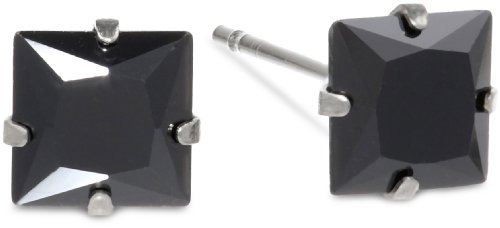 Stainless Steel Ion-Plated Plated Black Stud Earrings