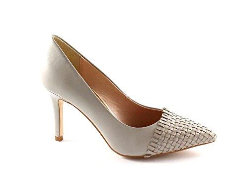 CAFè NOIR MH101 pietra scarpe donna decolletè punta intreccio 35