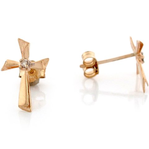 10k Yellow Real Gold White Solitaire CZ Cross Womens Earrings