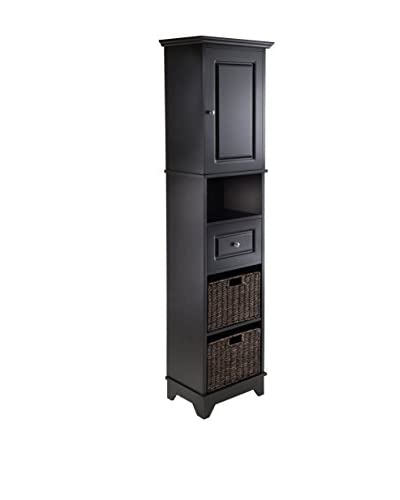 Luxury Home Wyatt Tall Cabinet with Baskets, Black