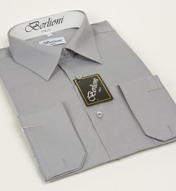 Elegant Men's Button Down Light Gray Dress Shirt