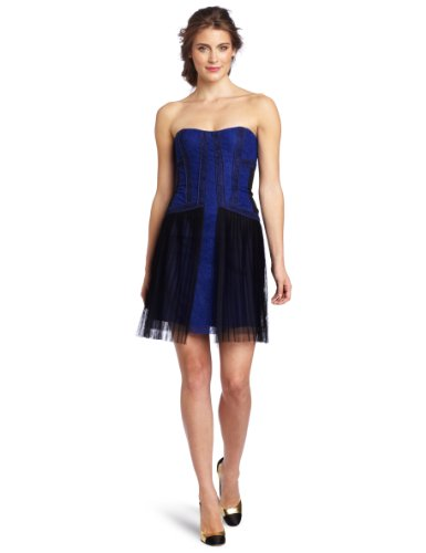 BCBGMAXAZRIA Women's Galia Strapless Color Block Lace Cocktail Dress, Dark Colbalt, 2
