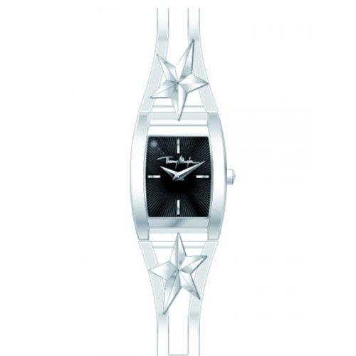 Thierry Mugler - 4711102 - Montre Femme - Quartz Analogique - Cadran Noir - Bracelet Acier Inoxydable Argent