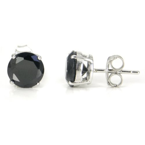 925 Sterling Silver 2.5 tcw Basket Setting 7MM Black Round CZ Cubic Zirconia Nickel Free Stud Earrings