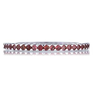 Kimber's Sterling Silver Eternity Ring - Ruby Cubic Zirconia Size 5
