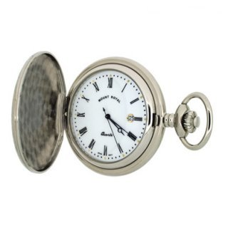 Mount Royal - Chrome Plated Full Hunter Quartz Pocket Watch - B5 - (WW1189) - 4.4cm diameter x 0.9cm depth