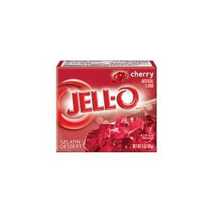 Image: Jell-O Cherry Gelatin Dessert 3 oz. Naturally fat free. Kosher