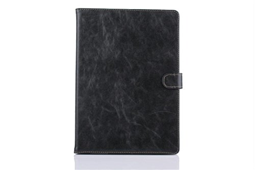 Apple Ipad Air 2 Case Borch Fashion Luxury Crazy-Horse Leather Multi-Function Protective Leather Light-Weight Folding Flip Smart Case Cover For For Ipad Air 2 (Black)