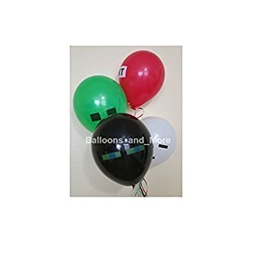 20 Mixed Lot Party Pixel Balloons Latex Green Black White Red Video Game