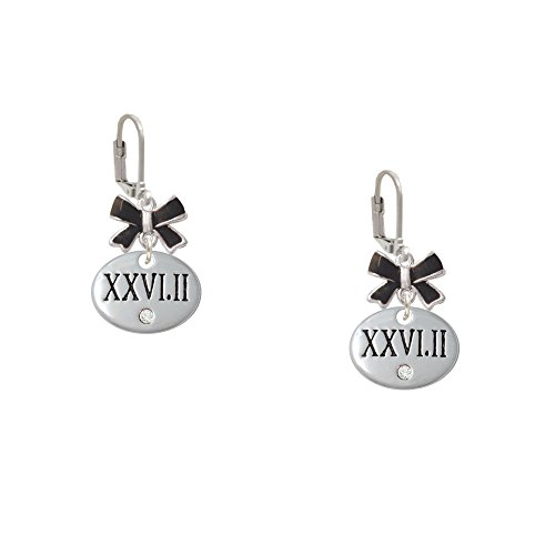 Marathon With Clear Crystal Roman Numeral - Black Emma Bow Leverback Earrings
