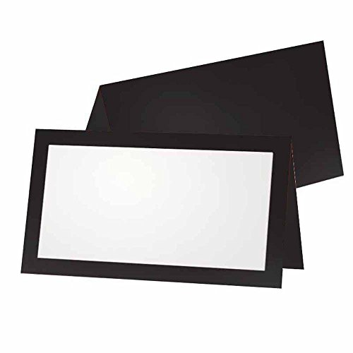 Black Place Cards - Flat or Tent - 10 or 50 Pack - White Blank Front with Solid Color Border - Placement Table Name Seating Stationery Party Supplies - Occasion or Dinner Event (50, Tent Style) (Seating Place Cards compare prices)
