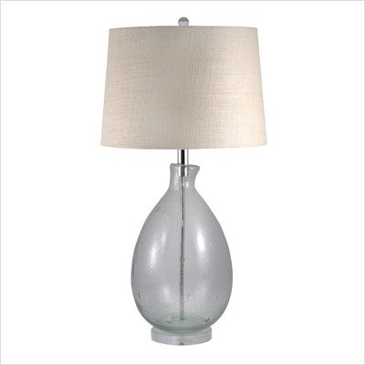 Glass Hand Blown Clear Seeded Glass Table Lamp
