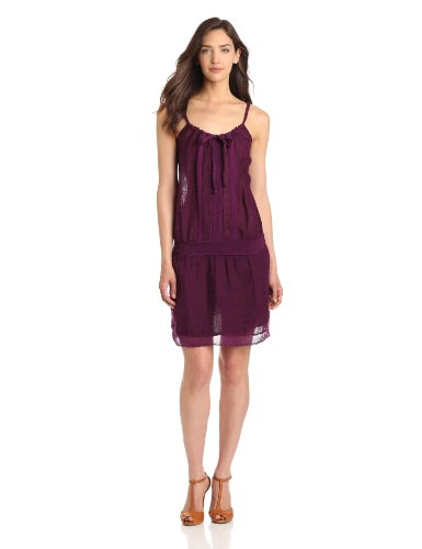 Michael Stars Women's Alexis Textured Linen Crochet Halter Dress, Boysenberry, Large