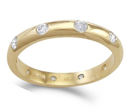 CZ Eternity Wedding Ring 14k Yellow Gold Anniversary Band (1/2 Carat), Size 5