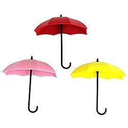 3PCS Umbrella Design Key Holders Wall-mounted Door Hangers Hooks
