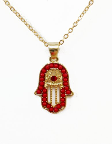 Gold plated Fatima Hand Necklace with red crystals, lovely Hamsa Judaica Necklace Pendant Kabbalah Lucky / Evil Eye Hand Of Fatima Gold, Length 17