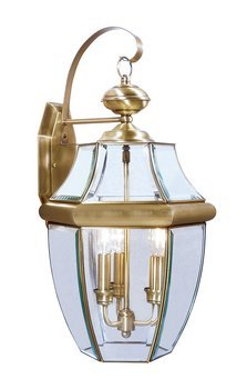 Livex Lighting 2351-01 Outdoor Wall Lantern with Clear Beveled Glass Shades, Antique Brass at Sears.com