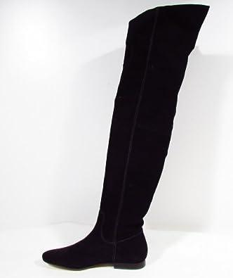 """BUFFALO """"Hippie"""" Femme bottes cuissardes vintage daim (noir) 38"""