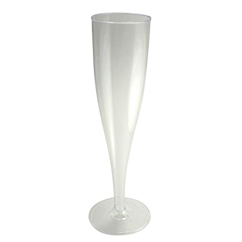 Enimay 5 oz. Clear Champagne Flute Hard Plastic 1 Piece 10 Pack - 1