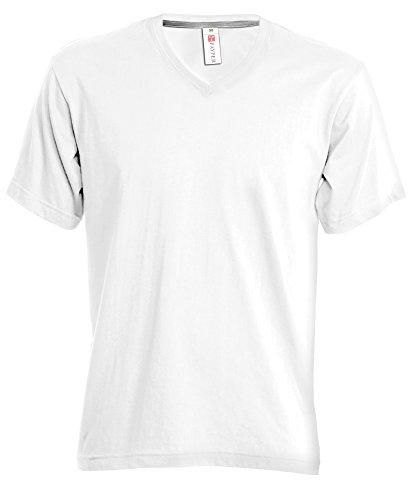 T-shirt Uomo Maglia a Maniche Corte con Scollo a V e Colletto in Costina Payper V-neck, Colore: Bianco, Taglia: L