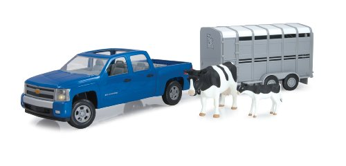 Ertl Big Farm 1:16 Chevy Pickup With Cattle Trailer front-74637