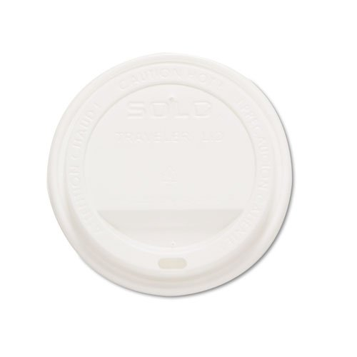 SOLO Cup Company Products - SOLO Cup Company - Traveler Drink-Thru Lids, White, 1000/Carton - Sold As 1 Carton - Provides tight fit to keep beverages secure and warm. - Reduces dribbles and leakage. - Inner ring helps prevent pop-off incidents. - Dome des