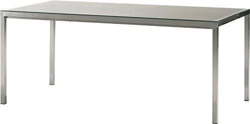 """Bukatchi Gartentisch """"X-aliber"""" aus gebürstetem Aluminium mit Glasplatte und Sling in der Farbe taupe, 160 x90 cm, 948688 jetzt kaufen"""