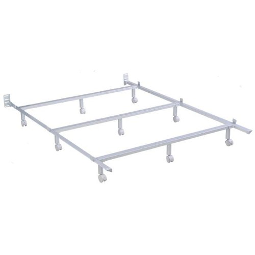 Silver Powder Coated Steel Bed Frame with Angled Tubular Side Rails, King
