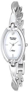 Armitron Women's 75/5204MPSV Diamond Dial Silver-Tone Organic Shaped Bangle Watch