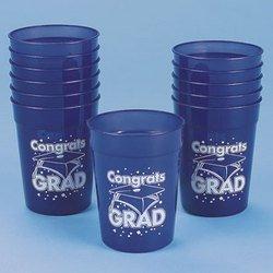 """BLUE """"CONGRATS GRAD"""" PLASTIC CUP (1 DOZEN) - BULK"""